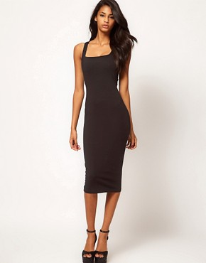Image 4 ofASOS Midi Bodycon Dress With Square Neck