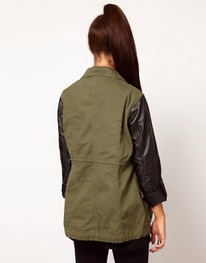 Image 2 ofRiver Island Leather Look Sleeve Army Jacket