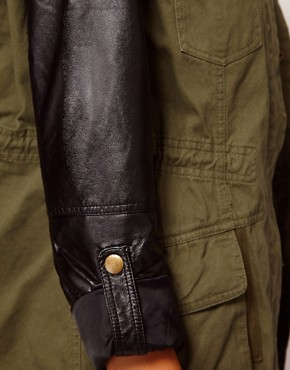 Image 3 ofRiver Island Leather Look Sleeve Army Jacket