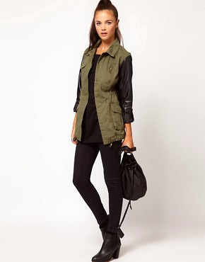 Image 4 ofRiver Island Leather Look Sleeve Army Jacket