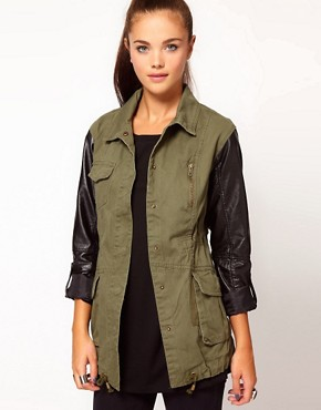 Image 1 ofRiver Island Leather Look Sleeve Army Jacket