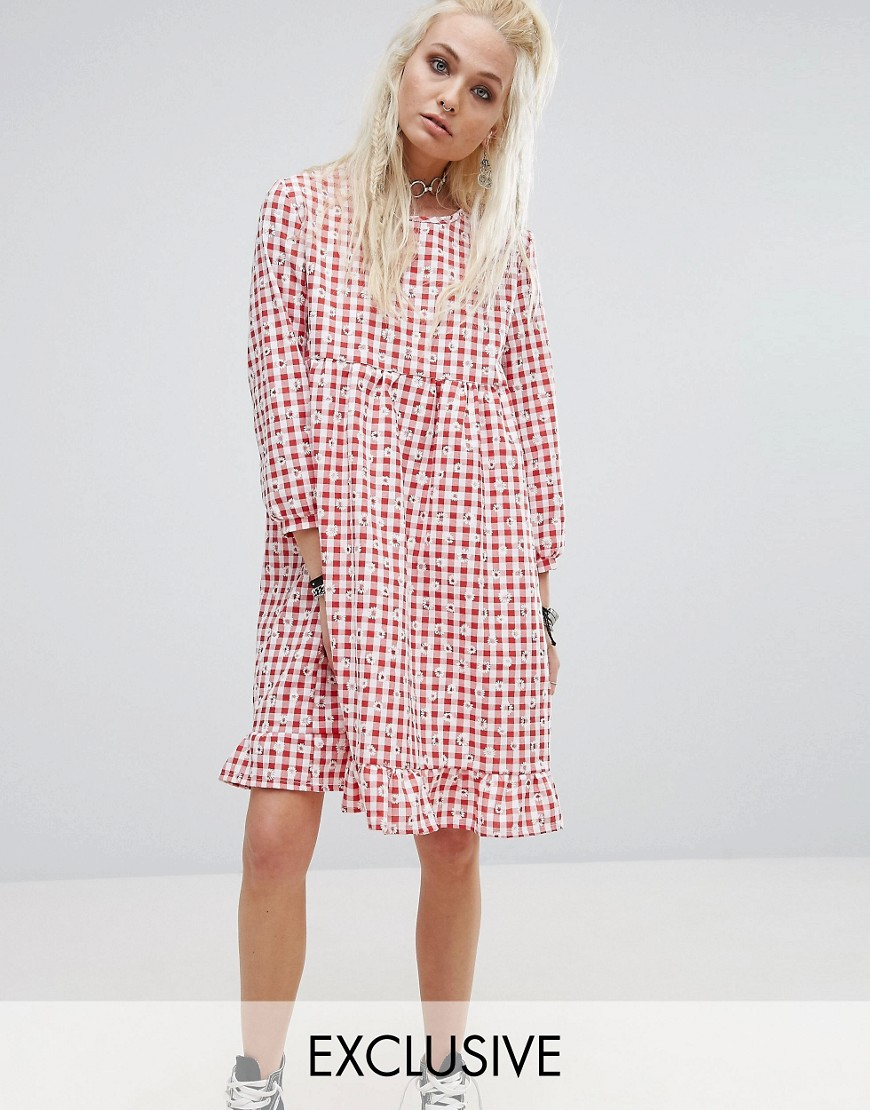 Milk It Vintage Smock Dress In Floral Gingham - Red