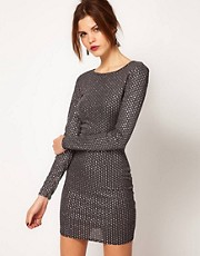Warehouse Sparkly Bodycon Dress
