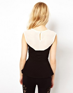 Image 2 of River Island Mesh Peplum Top