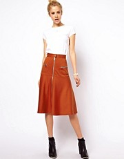 ASOS A-Line Skirt with Chunky Zip Detail