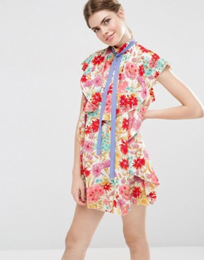 ASOS Floral Ruffle Mini Shift Dress With Neck Tie
