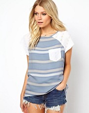 ASOS T-Shirt in Stripe Chambray and Broderie