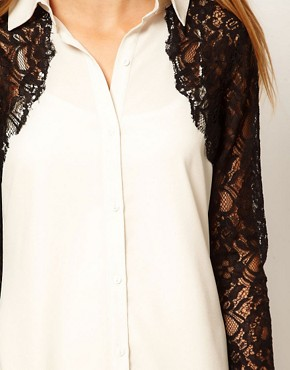 Image 3 ofASOS Shirt Dress With Lace Panels