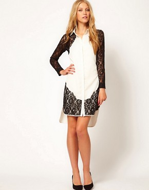 Image 4 ofASOS Shirt Dress With Lace Panels
