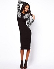 ASOS Body-Conscious Dress With Zebra Sleeves