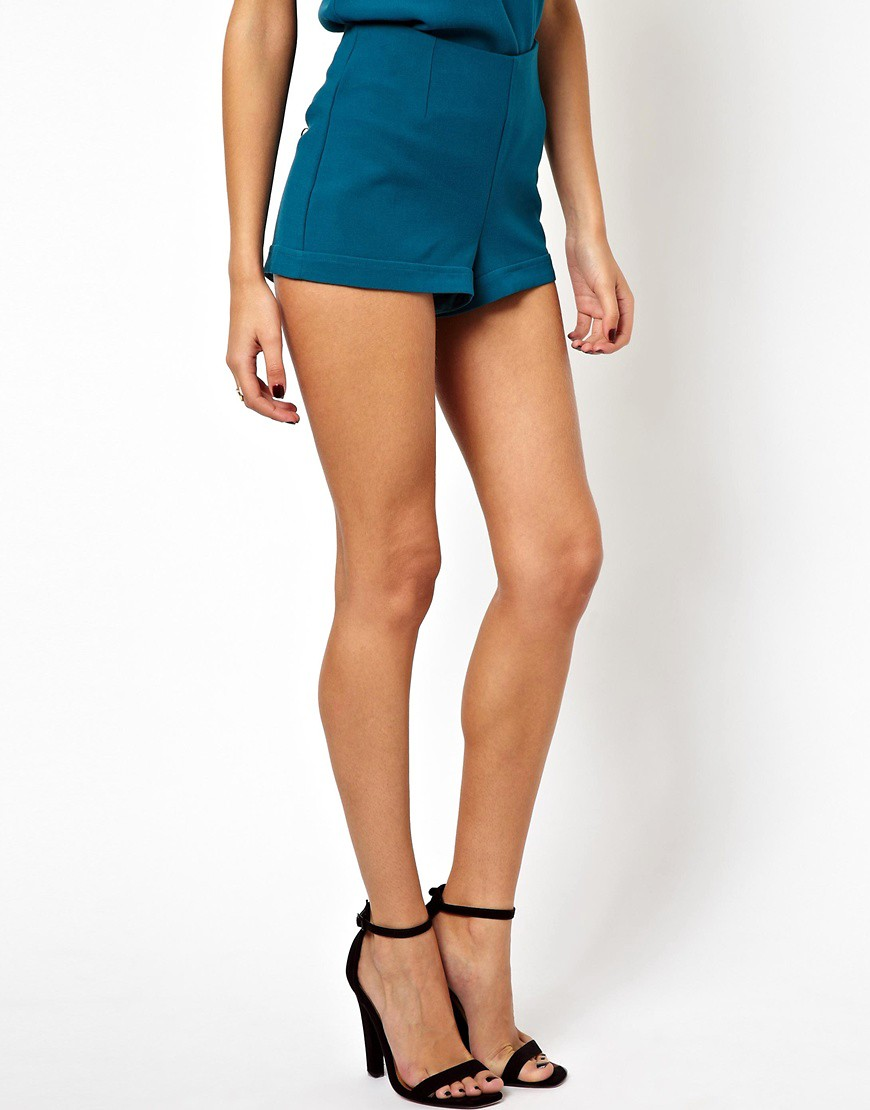Image 4 of ASOS PETITE Exclusive Shorts With Exposed Zip Back