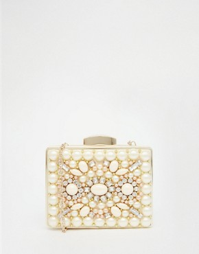 ALDO Box Clutch With Rhinestone Detail in Nude