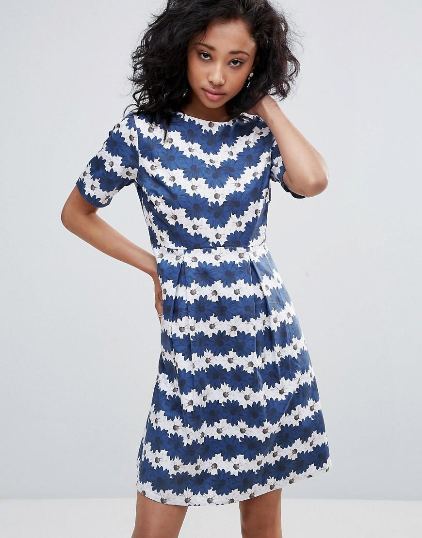 Uttam Boutique Striped Daisy Print Skater Dress