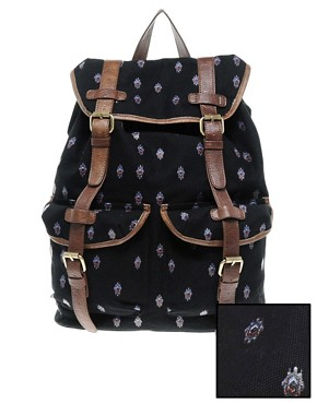 Image 1 ofASOS Canvas Backpack with Aztec Print