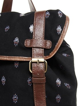 Image 2 ofASOS Canvas Backpack with Aztec Print