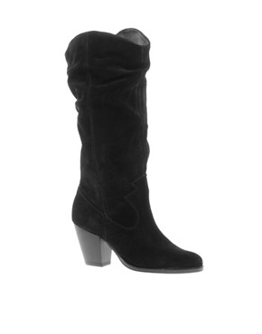 Image 1 ofFaith Rosalind Black Ruched Knee Boots