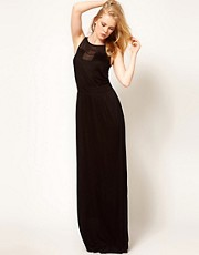 Mango Maxi Dress With Sheer Jersey Panel
