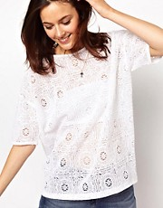 ASOS Premium T-Shirt in Lace with Cut Out Back
