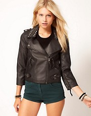 ASOS Leather Look Biker Jacket With Studded Collar