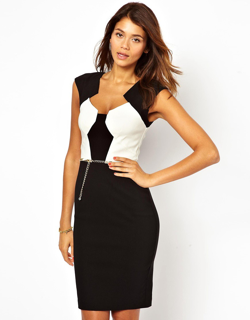 Image 1 of Paper Dolls Belted Pencil Dress in Colour Block