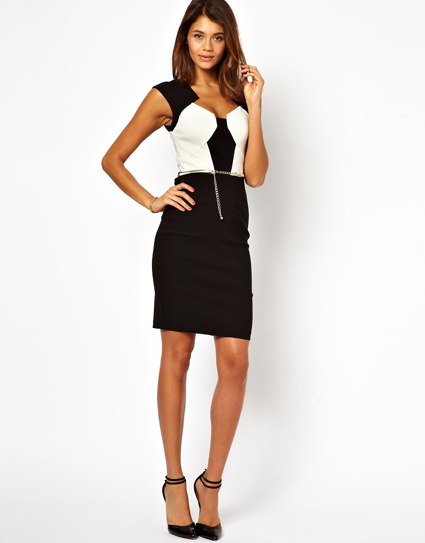 Image 4 of Paper Dolls Belted Pencil Dress in Colour Block