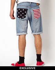 Reclaimed Vintage Shorts with American Flag Pockets