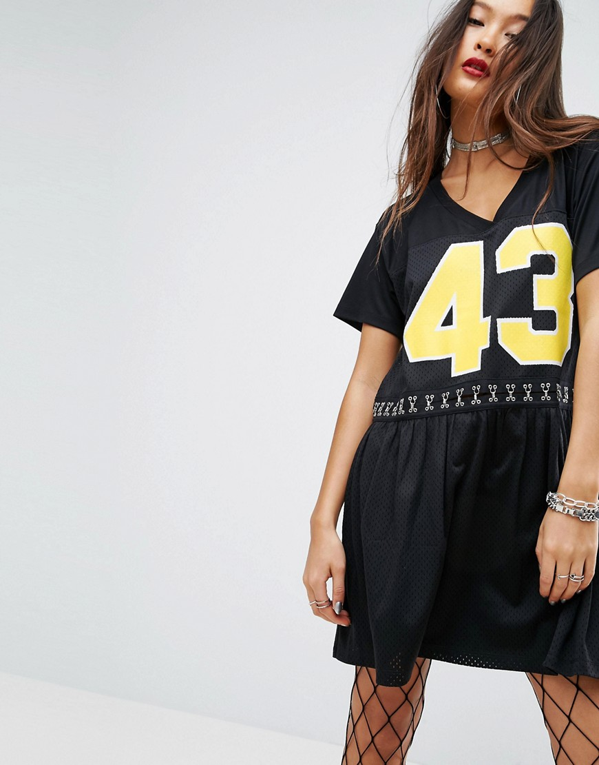 ASOS PUNK Airtex Smock Dress - Black