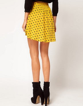 Image 2 ofASOS Skirt with Dipped Hem in Heart Print