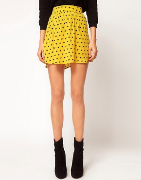 Image 4 ofASOS Skirt with Dipped Hem in Heart Print