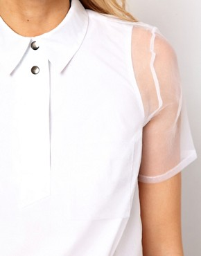 Image 3 ofASOS Maternity Shirt With Oversize Placket And Sheer Overlay