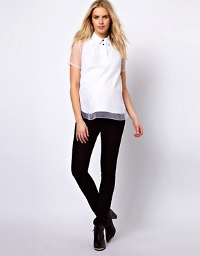 Image 4 ofASOS Maternity Shirt With Oversize Placket And Sheer Overlay