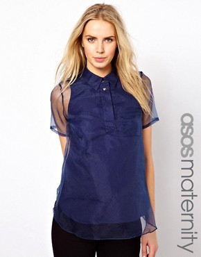 Image 1 ofASOS Maternity Shirt With Oversize Placket And Sheer Overlay