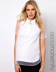 ASOS Maternity Shirt With Oversize Placket And Sheer Overlay