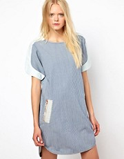 Baum und Pferdgarten Ticking Stripe Denim Dress with Zip Detail
