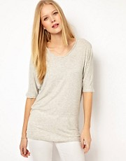 Selected Tecca Oversized Tee in 1x1 Rib Jersey
