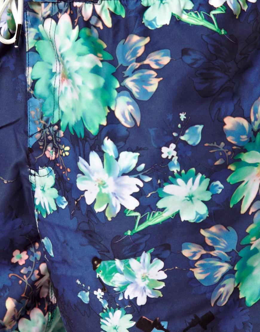 O'Neill Mobster Flower Swim Shorts - Blue