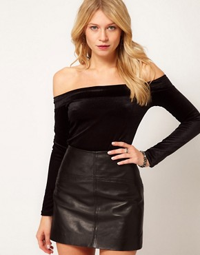 Image 1 of Love Off Shoulder Body in Velvet