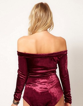Image 2 of Love Off Shoulder Body in Velvet