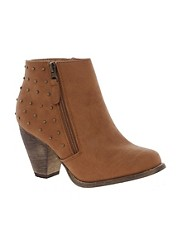 New Look Calm Studded Western Heeled Tan Ankle Boots