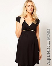ASOS Maternity Dress With Wrap Front And Gold Belt