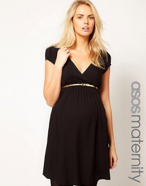 Image 1 ofASOS Maternity Dress With Wrap Front And Gold Belt