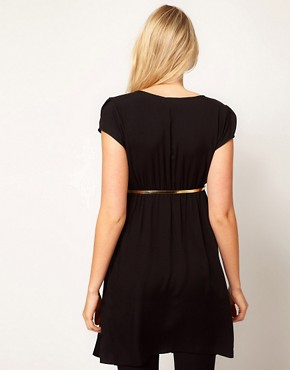 Image 2 ofASOS Maternity Dress With Wrap Front And Gold Belt
