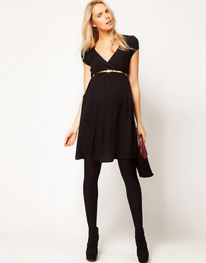 Image 4 ofASOS Maternity Dress With Wrap Front And Gold Belt