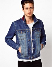 ASOS Denim Jacket With Check Collar