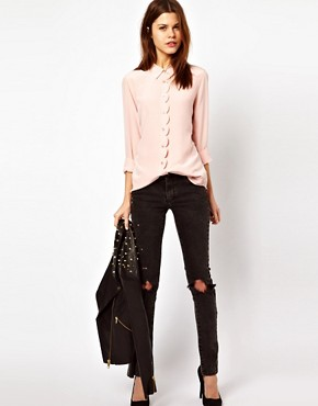 Image 4 ofEquipment Scallop Edge Brett Shirt in Silk