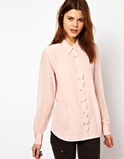 Equipment Scallop Edge Brett Shirt in Silk