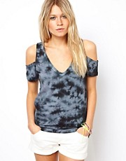 ASOS T-Shirt with Cold Shoulder in Tie Dye