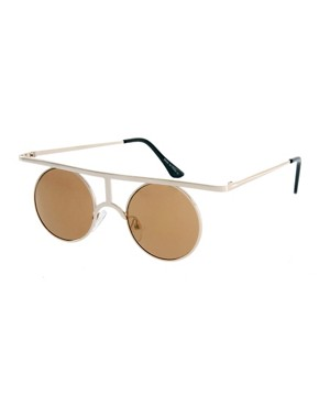 Image 1 ofASOS Flat High Bar Metal Round Sunglasses