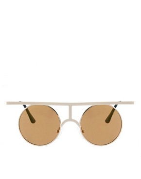Image 2 ofASOS Flat High Bar Metal Round Sunglasses