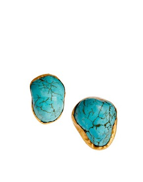 Image 1 ofKasturjewels 22kt Gold Plated Turquoise Stone Stud Earrings